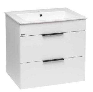 Bílá dvoušuplíková skříňka s keramickým umyvadlem
