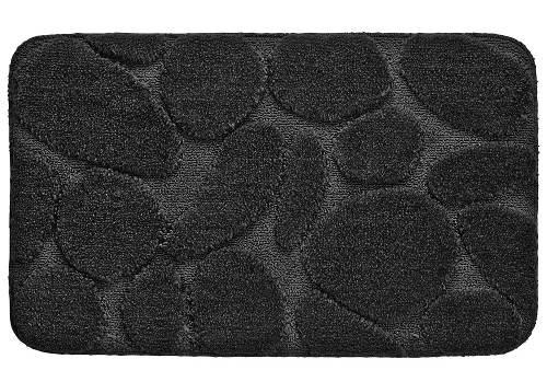 Černá obdelníková koupelnová předložka s oblázky
