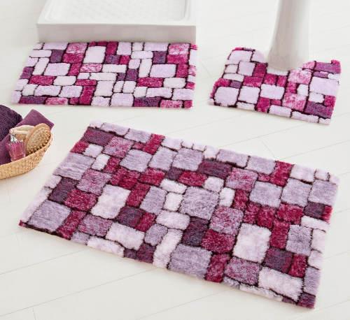 Fialové koupelnové předložky mozaika