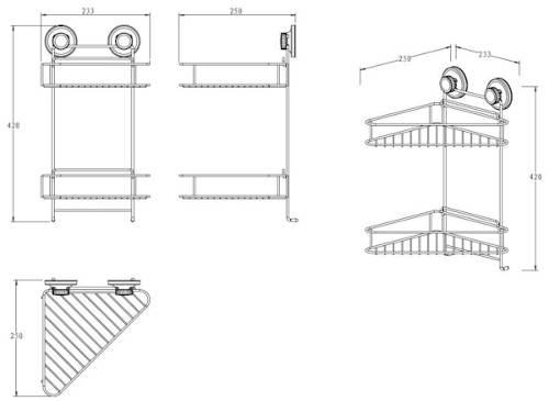 Kompletní rozměry trojúhelníkové koupelnové poličky