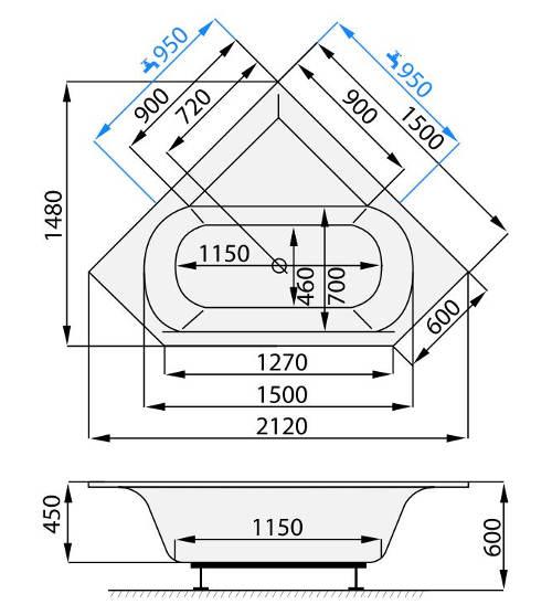 Kompletní rozměry rohové vany Stema