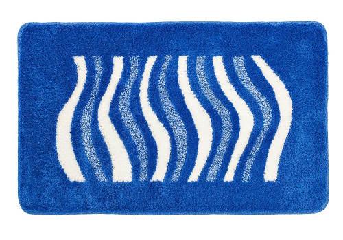 Modrá obdelníková koupelnová předložka s vlnkama