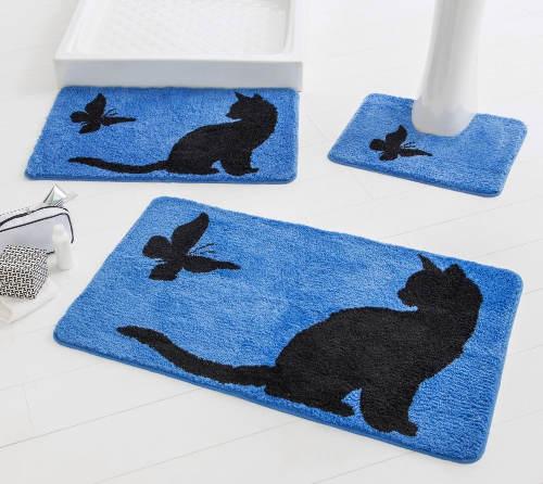 Modré koupelnové předložky s kočičkou