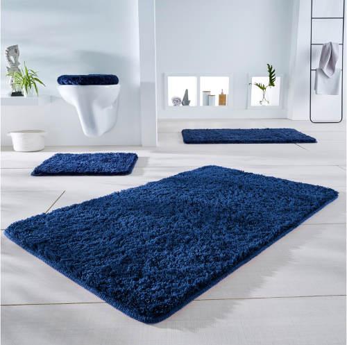 Modré koupelnové předložky s vysokým vlasem