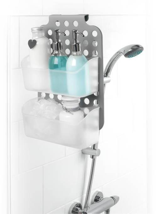 Plastová polička na zavěšení horní hrany sprchového koutu