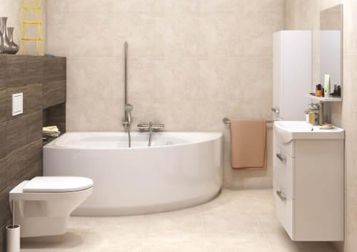 Rohová akrylátová koupelnová vana