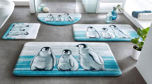 Sada koupelnových předložek s tučňáky