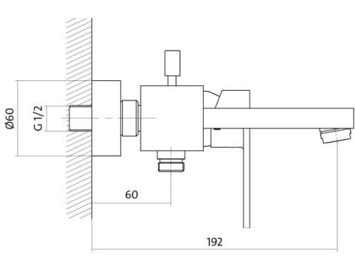 Rozměry a rozteč vanové baterieCersanit Elio