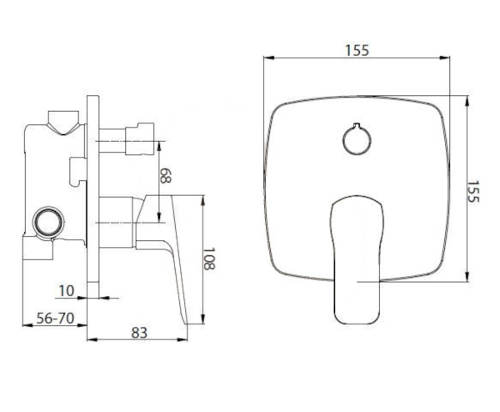 Technický nákres vanové podomítkové baterie