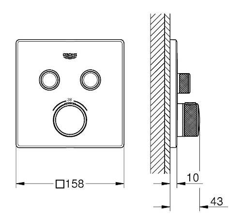 Technický nákres sprchová podomítková baterie Grohe