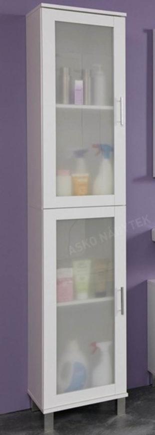 Vysoká bílá koupelnová skříňka s mléčným sklem
