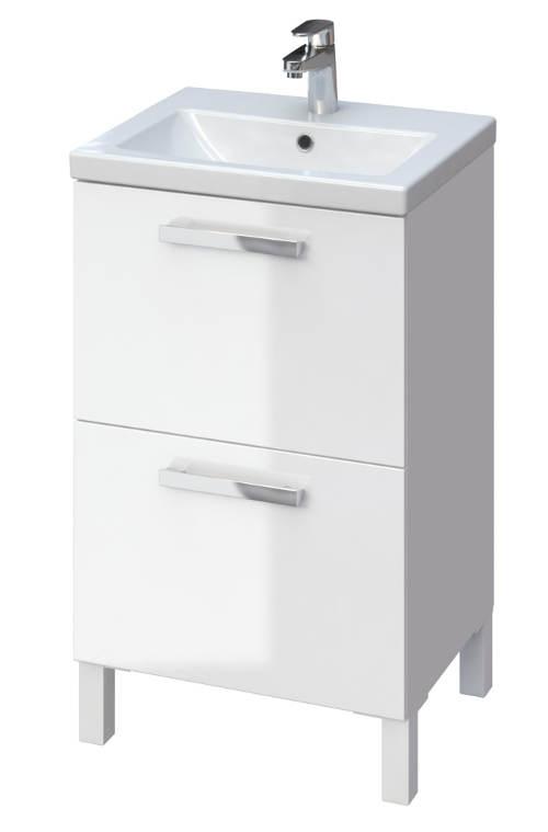 Závěsná skříňka pod umyvadlo s bílým lesklým povrchem