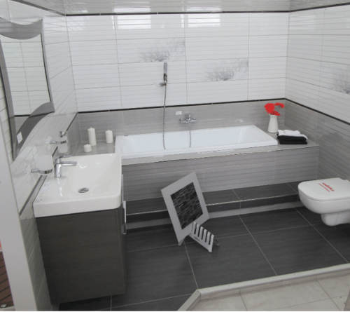 Šedo-bílá koupelna inspirace