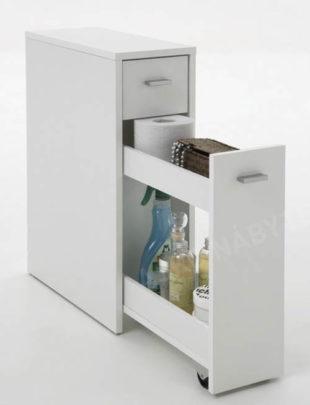 Úzká koupelnová skříňka s výsuvnými přihrádkami a malou zásuvkou
