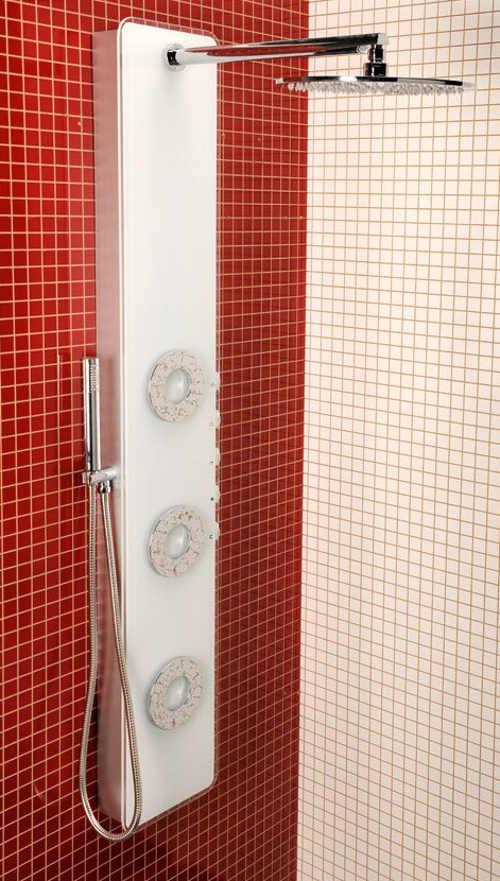 Bílý hydromasážní sprchový panel