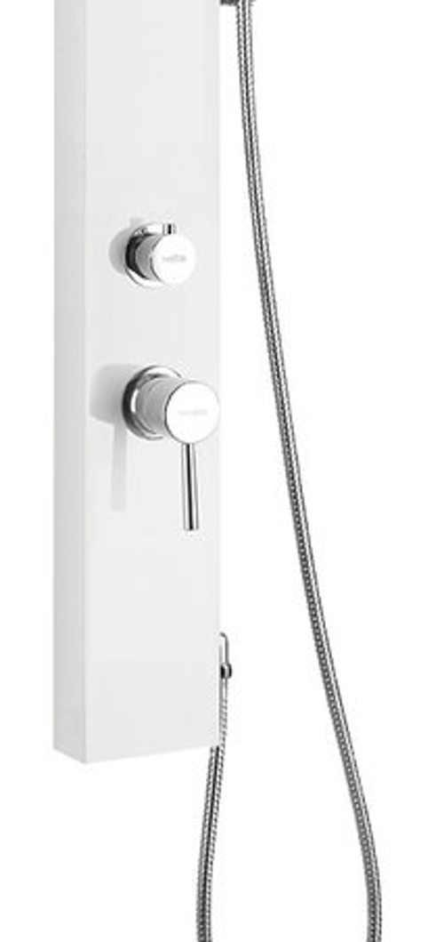 Bílý sprchový panel s pákovou baterií
