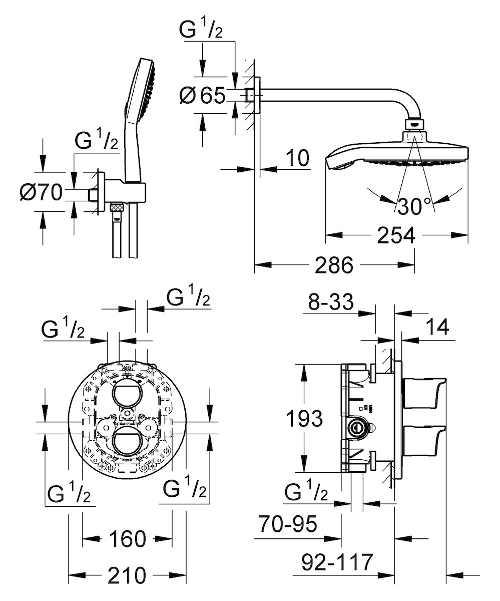 Podomítový termostatický sprchový set s tlačítkovým přepínačem