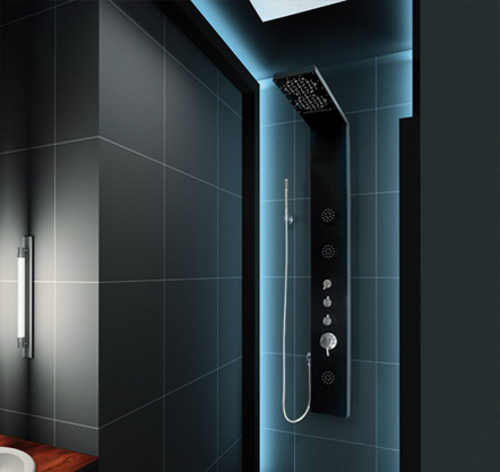 Hydromasážní sprchový panel s vodopádem a termostatickou baterií Aquatek Hawai