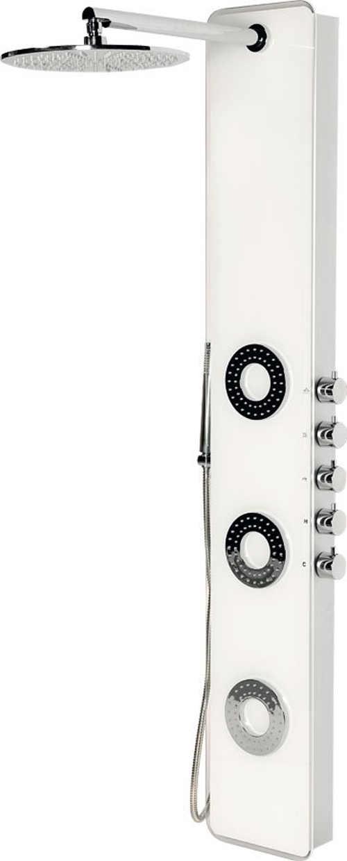 Sprchový hydromasážní panel z bílého skla SAPHO IDESK