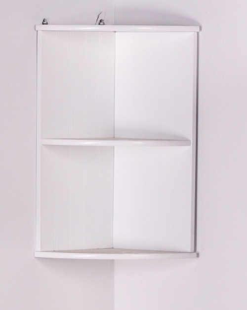 Bílá rohová závěsná koupelnová police