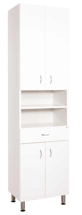 Praktická vysoká skříňka do koupelny s dostatkem úložného prostoru