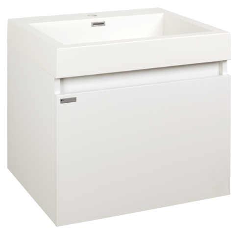 Závěsná bílá koupelnová skříňka s umyvadlem