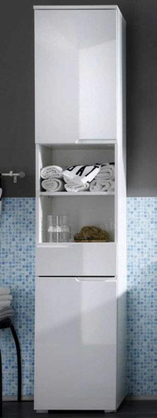 Bílá úzká sloupová skříň do koupelny