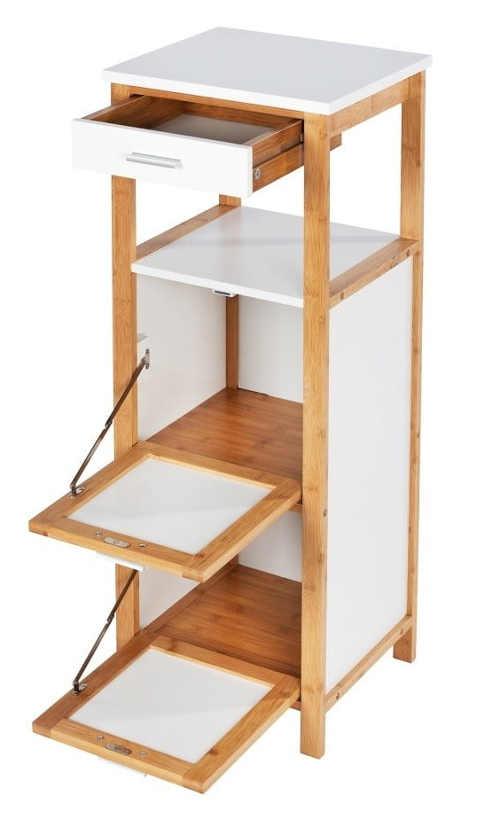 Dřevěná koupelnová skříňka výklopnými policemi