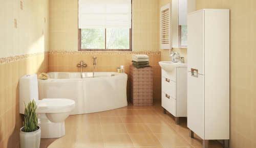 Béžová koupelna s asymetrickou vanou