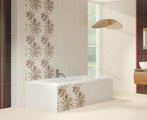 Béžová koupelna s obdélníkovou vanou