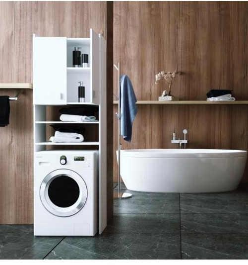 Bílá koupelnová kvalitní skříňka nad pračku