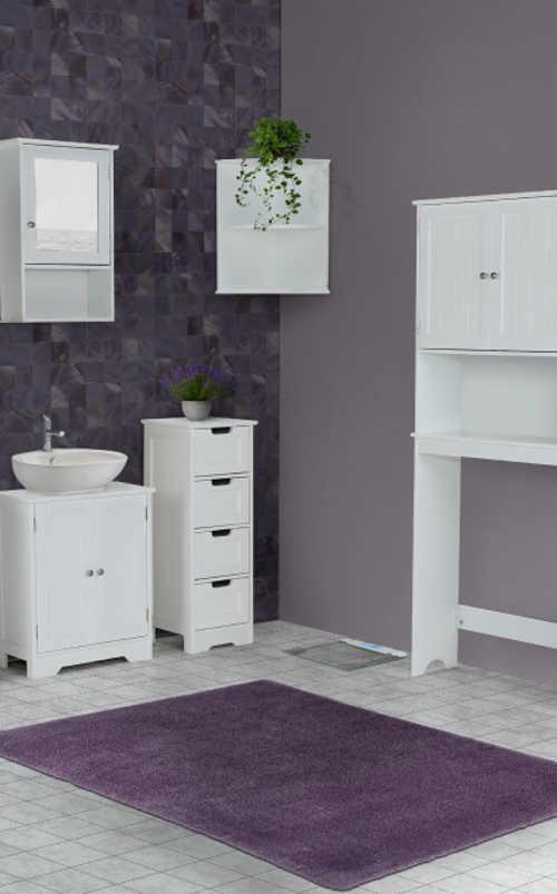 Komoda v bílém provedení vhodná i do malé koupelny