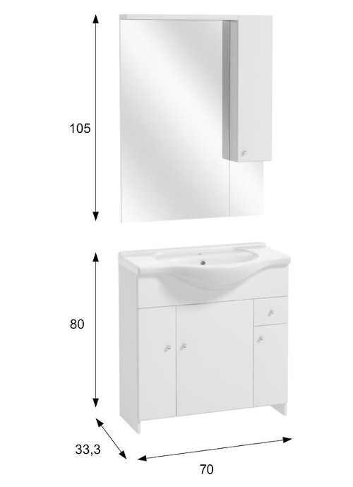 Sestava do koupelny - skříňka se zrcadlem a umyvadlem