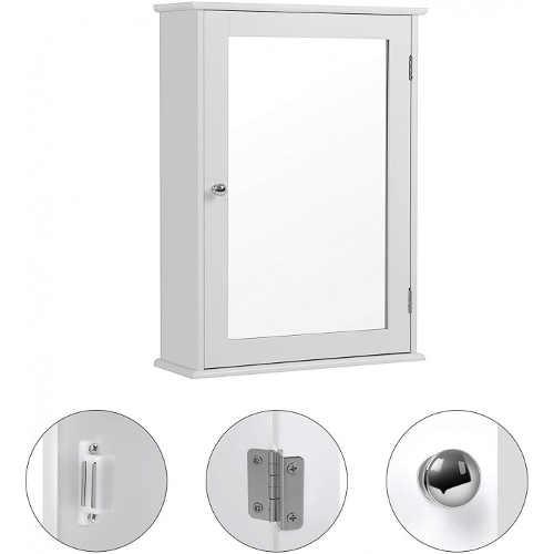 Skříňka s praktickým zrcadlem v bílém provedení