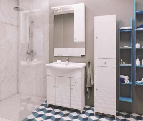 Skříňka se zrcadlem a umyvadlem do koupelny