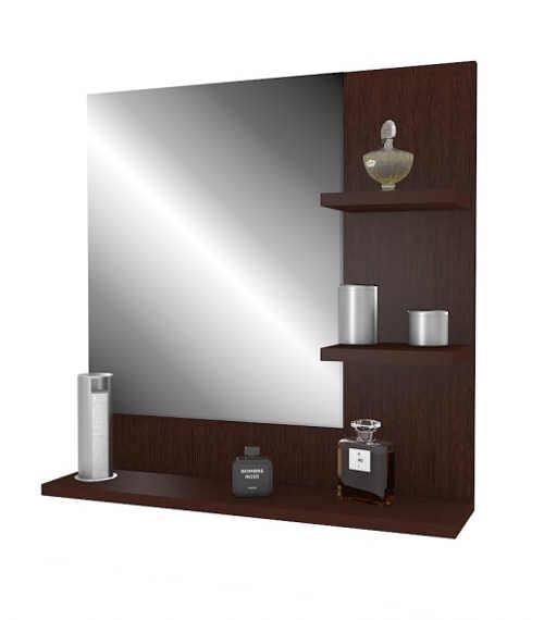 praktický nástěnný set v podobě zrcadla a police