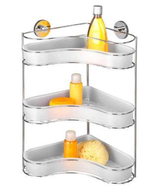 Třípatrová samodržící rohová polička do koupelny