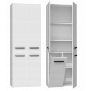 Vysoká skříňka do koupelny v bílém provedení