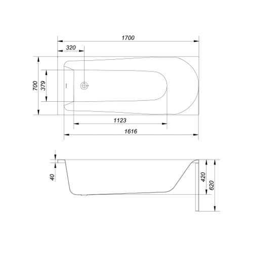 kvalitní bílá prostorná obdélníková vana
