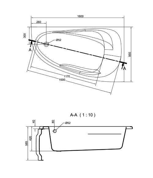 moderní asymetrická vana do koupelny