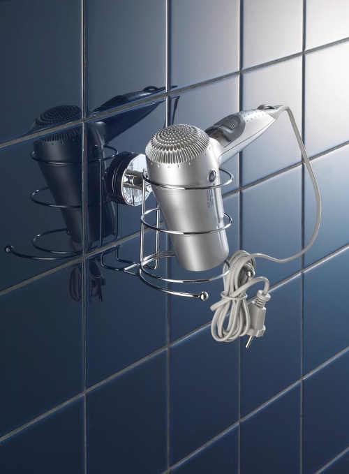 Samodržící praktický stojan do koupelny na fén