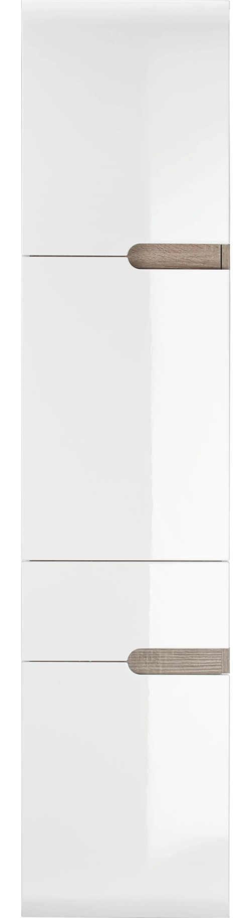 Moderní vysoká bílá lesklá závěsná koupelnová skříňka