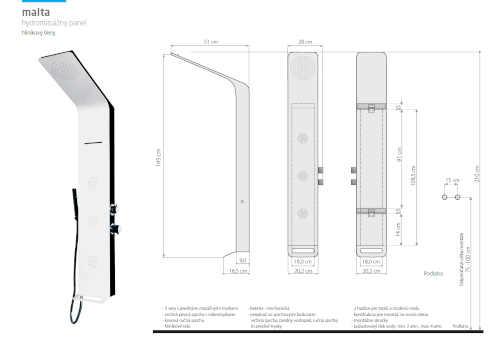 moderní hydromasážní sprchový panel