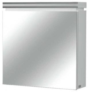 Bílá čtvercová koupelnová skříňka galerka se zrcadlem