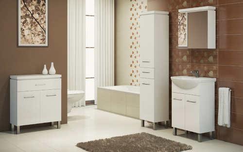 Bílo-hnědá koupelna inspirace