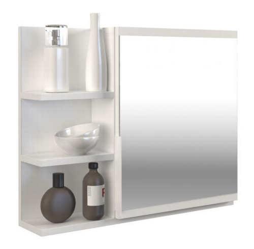 Moderní koupelnové zrcadlo se třemi poličkami