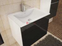 Koupelnová skříňka pod umyvadlo bílá/černý lesk