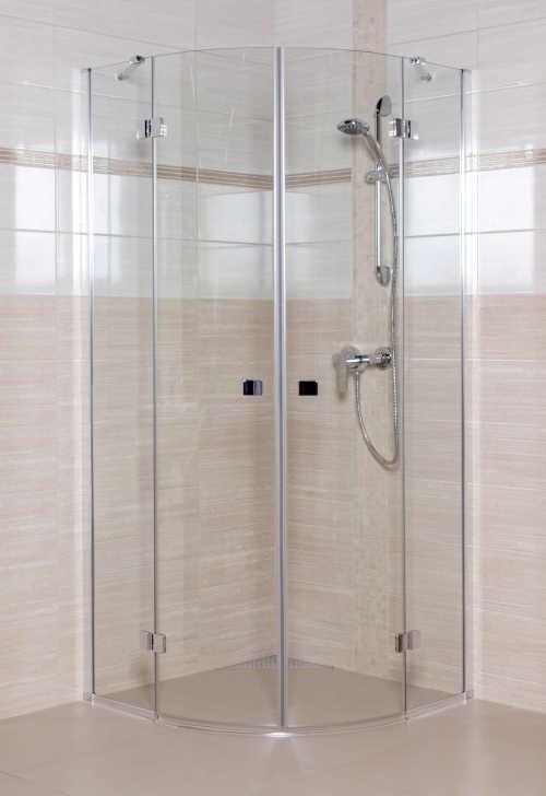 Sprchový kout v lesklém chromu s bezpečnostním sklem