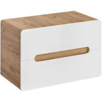 Závěsná koupelnová skříňka Aruba v dekoru bílá/dub craft