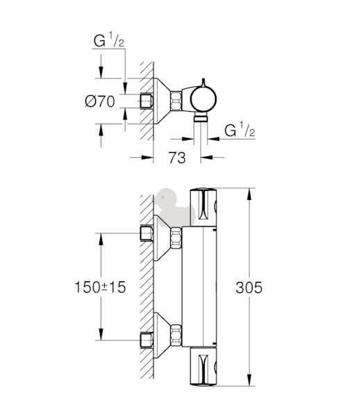 sprchová nástěnná termostatická baterie